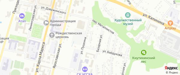 Переулок Пушкина на карте Чебоксар с номерами домов