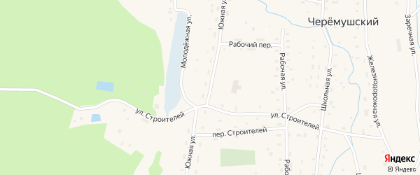 Южная улица на карте Черемушского поселка с номерами домов
