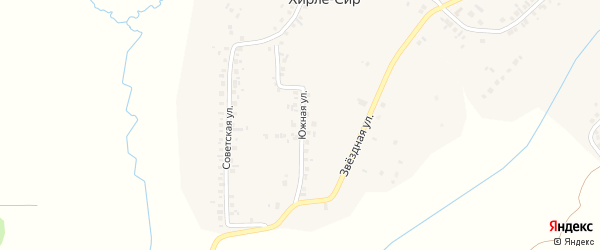 Южная улица на карте деревни Хирле-Сир с номерами домов