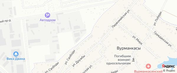 Первомайская улица на карте деревни Вурманкасы (Лапсарского с/п) с номерами домов