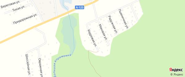Кедровая улица на карте железнодорожной станции Новой Гари с номерами домов