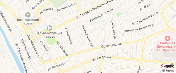 Волгоградская улица на карте Харабали с номерами домов