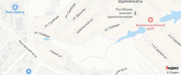 Улица Победы на карте деревни Вурманкасы (Лапсарского с/п) с номерами домов