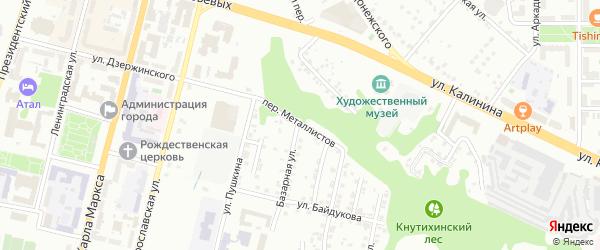 Переулок Металлистов на карте Чебоксар с номерами домов