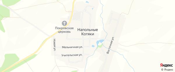 Карта деревни Напольные Котяки в Чувашии с улицами и номерами домов