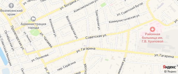 Советская улица на карте Харабали с номерами домов