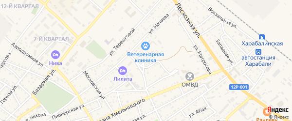 Переулок Нечаева на карте Харабали с номерами домов