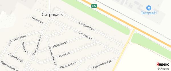 Светлая улица на карте деревни Сятракасы (Лапсарского с/п) с номерами домов
