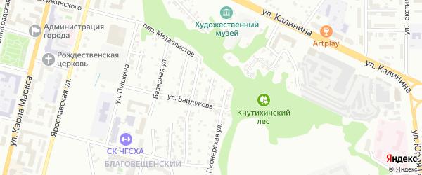 Переулок Байдукова на карте Чебоксар с номерами домов