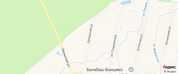 Канашская улица на карте села Балабаш-Баишево с номерами домов
