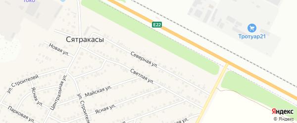 Северная улица на карте деревни Сятракасы (Лапсарского с/п) с номерами домов
