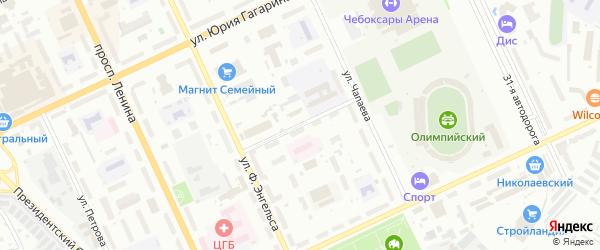 Школьный проезд на карте Чебоксар с номерами домов