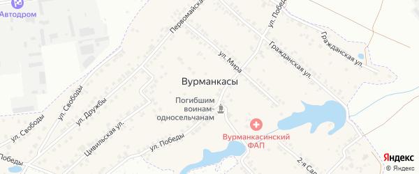 Цветочный переулок на карте деревни Вурманкасы (Вурман-Сюктерского с/п) с номерами домов