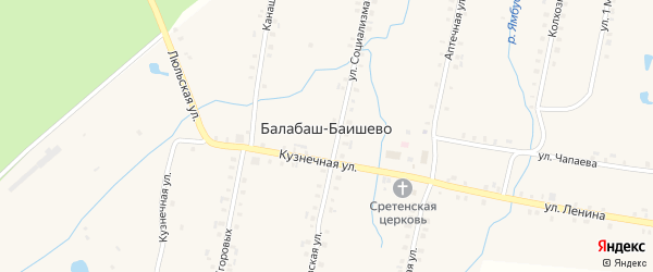 Кузнечная улица на карте села Балабаш-Баишево с номерами домов