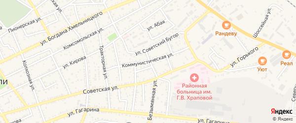Коммунистическая улица на карте Харабали с номерами домов