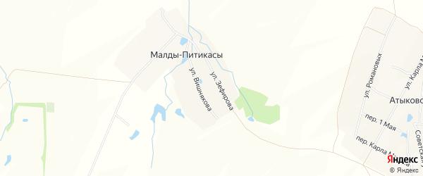 Карта деревни Малды-Питикасы в Чувашии с улицами и номерами домов