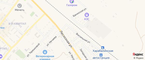 Линейный переулок на карте Харабали с номерами домов