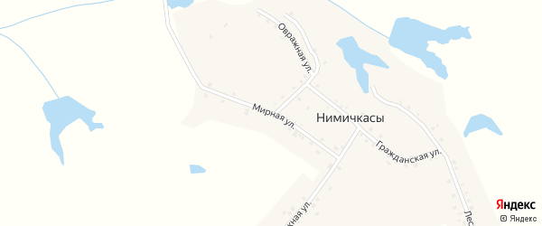 Мирная улица на карте деревни Нимичкасы с номерами домов