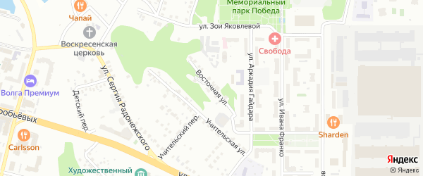 Восточная улица на карте Чебоксар с номерами домов
