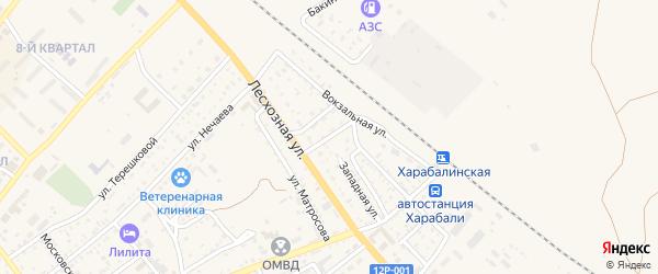 2-й Лесхозный переулок на карте Харабали с номерами домов
