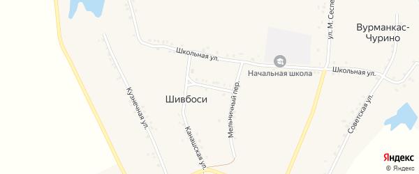 Кооперативная улица на карте деревни Шивбосей с номерами домов