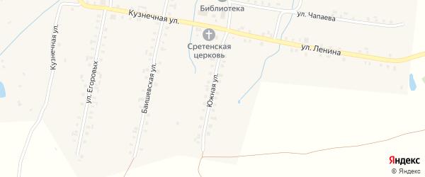 Южная улица на карте села Балабаш-Баишево с номерами домов