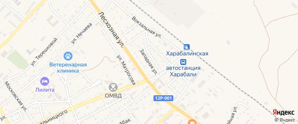 Западная улица на карте Харабали с номерами домов