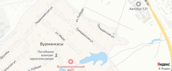 Гражданская улица на карте деревни Вурманкасы (Лапсарского с/п) с номерами домов