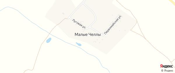 Луговая улица на карте деревни Малые Челлы с номерами домов