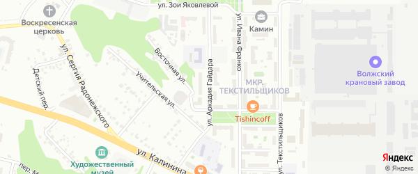 Улица Аркадия Гайдара на карте Чебоксар с номерами домов