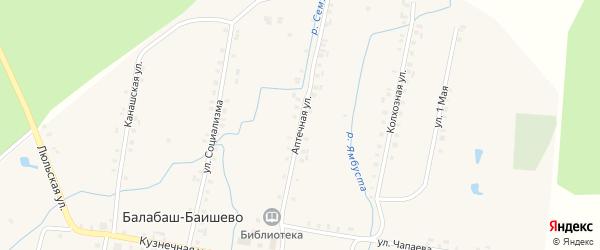 Аптечная улица на карте села Балабаш-Баишево с номерами домов