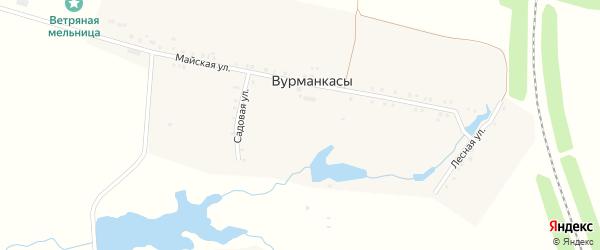 Центральная улица на карте деревни Вурманкасов с номерами домов