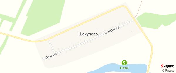 Полевая улица на карте деревни Шакулово с номерами домов