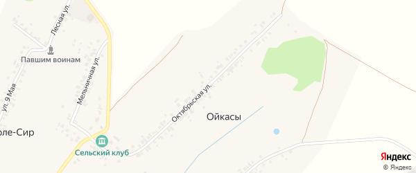 Октябрьская улица на карте деревни Ойкасы (Лапсарского с/п) с номерами домов