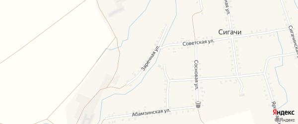 Заречная улица на карте деревни Сигачи с номерами домов