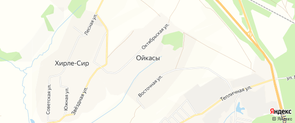 Карта деревни Ойкасы (Вурман-Сюктерского с/п) в Чувашии с улицами и номерами домов