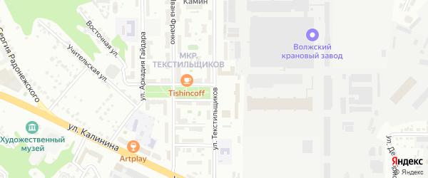 Улица Текстильщиков на карте Чебоксар с номерами домов