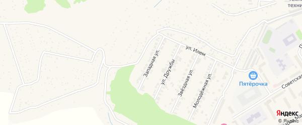 Западная улица на карте поселка Кугеси с номерами домов