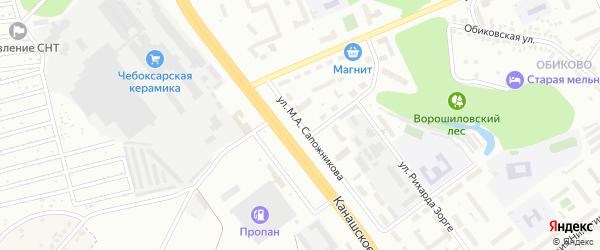 Улица М.А.Сапожникова на карте Чебоксар с номерами домов