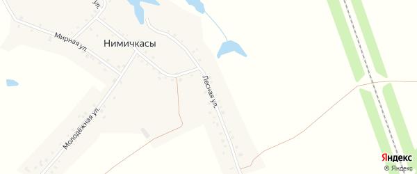Лесная улица на карте деревни Нимичкасы с номерами домов