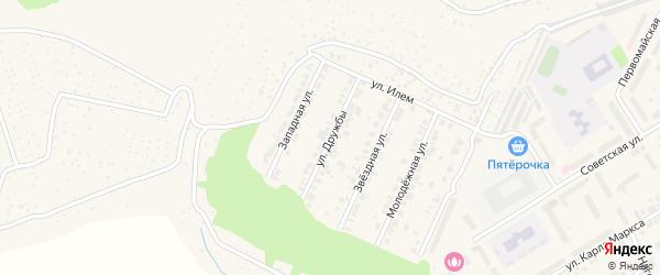 Улица Дружбы на карте поселка Кугеси с номерами домов