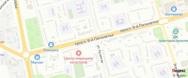 Проспект 9-й Пятилетки на карте Чебоксар с номерами домов
