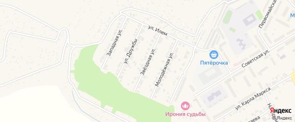 Звездная улица на карте поселка Кугеси с номерами домов