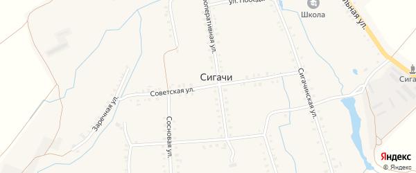 Советская улица на карте деревни Сигачи с номерами домов