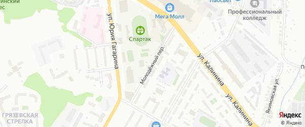 Молодежный переулок на карте Чебоксар с номерами домов