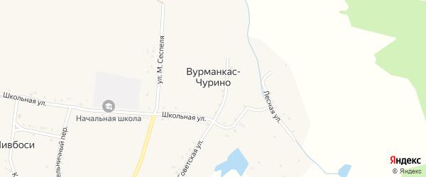 Кольцевой переулок на карте деревни Вурманкас-Чурино с номерами домов