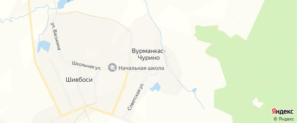 Карта деревни Вурманкас-Чурино в Чувашии с улицами и номерами домов