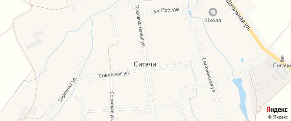 Кооперативная улица на карте деревни Сигачи с номерами домов