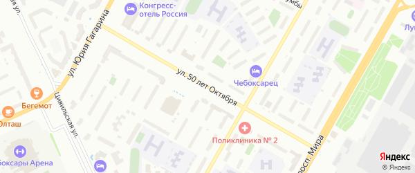 Территория сдт 50 лет Октября на карте Чебоксар с номерами домов