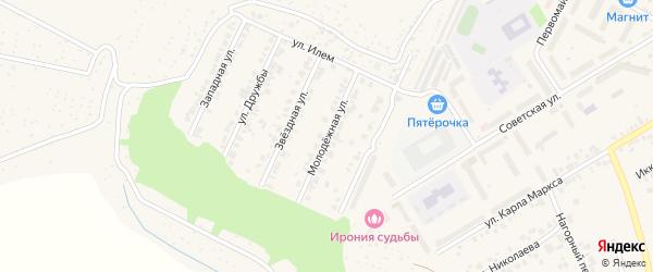 Молодежная улица на карте поселка Кугеси с номерами домов